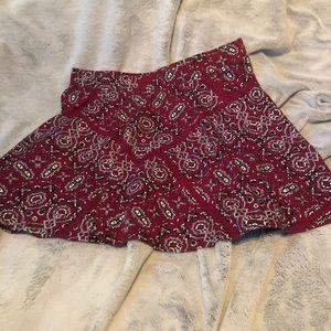 Maroon paisley skater skirt (M)